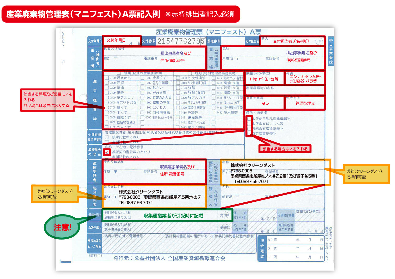 産業廃棄物管理票記入例