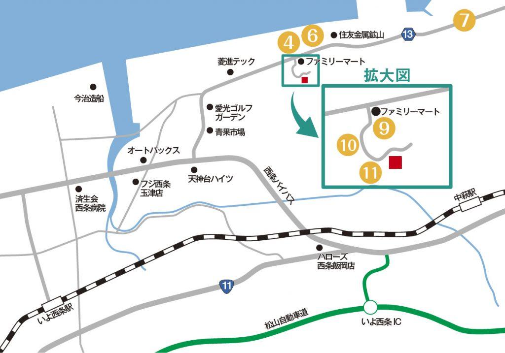 新居浜からの詳細アクセスマップ